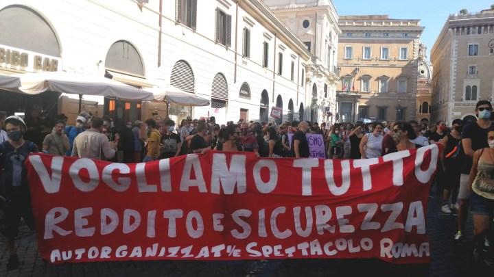 La manifestazione dei Lavoratori dello spettacolo e della cultura di Roma del 27 giugno 2020 (ph. IN24 / A. Catanzariti).