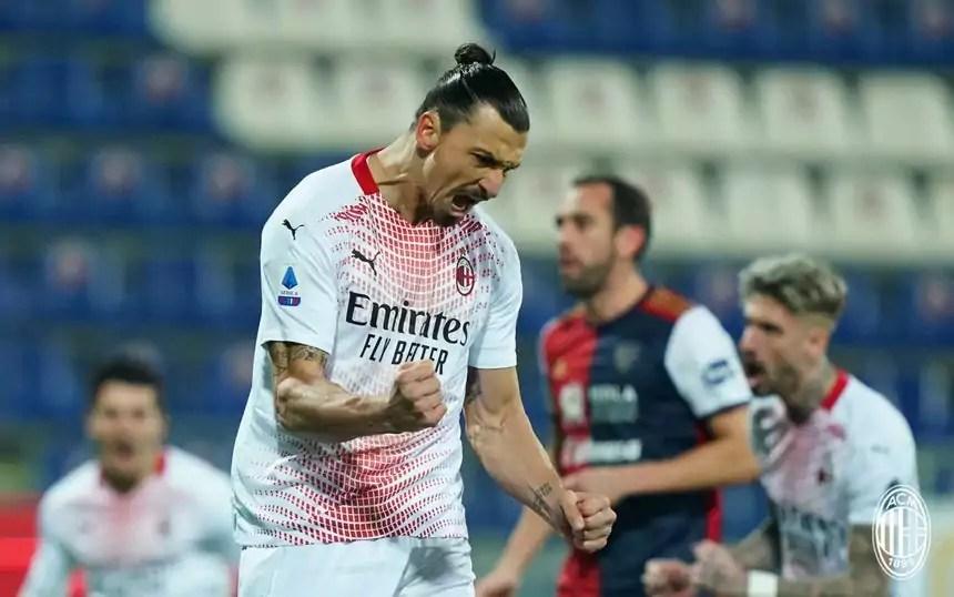 Esultanza Ibrahimovic durante la partita di Serie A Cagliari-Milan del 18 gennaio 2021 (photo credit AC Milan).