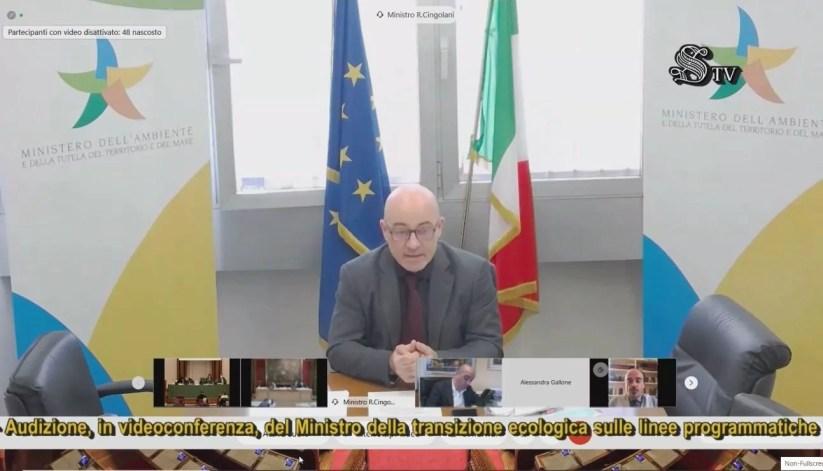 Il ministro della Transizione ecologica Roberto Cingolani in audizione congiunta con Camera e Senato aulle linee programmatiche.