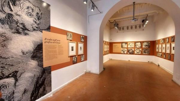 Una delle sale dell'Instituto Cervantes di Roma che accoglie la mostra Goya Fisonomista.