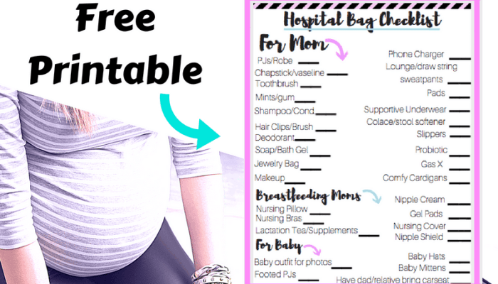 C-Section Hospital Bag checklist printable
