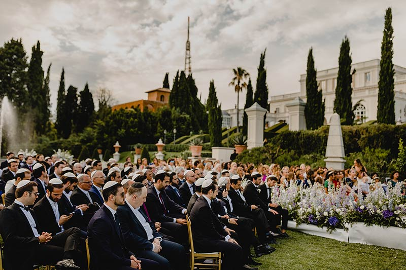 Jewish wedding ceremony at Villa Miani