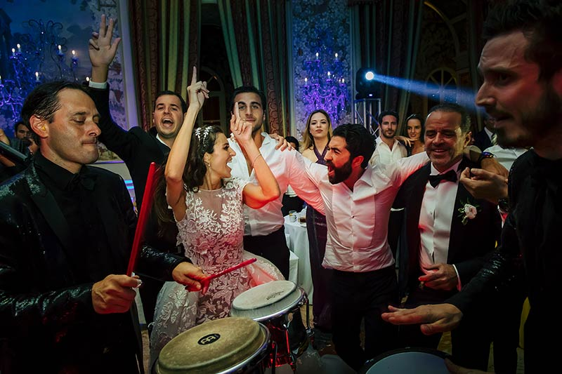 Jewish wedding party at Villa Miani