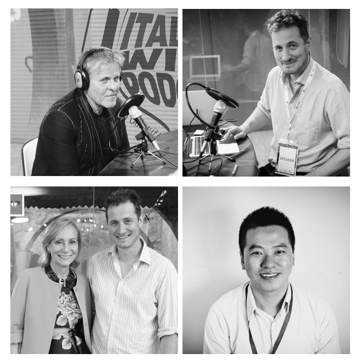 Photograph (clockwise): Renzo Rosso, owner of Diesel Farm; Monty Waldin, the Italian Wine Podcast host; Mi Zhu, Operations Advisor for wine at Ali Baba and guest in episode 26; Waldin with Marilisa Allegrini owner of Allegrini Wines in the Veneto region of Italy.