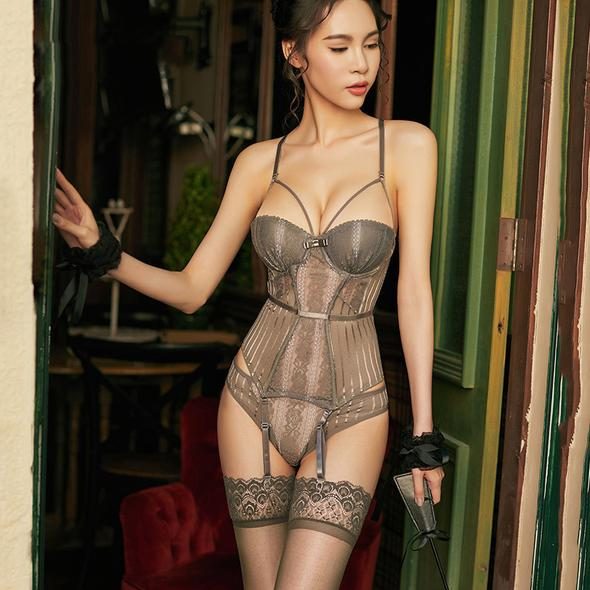 👙 High Elasticity Corset Bustier With Cup Girdle | Set With Straps Belt Breathable | Fabric Lingerie Gray | Intimo donna