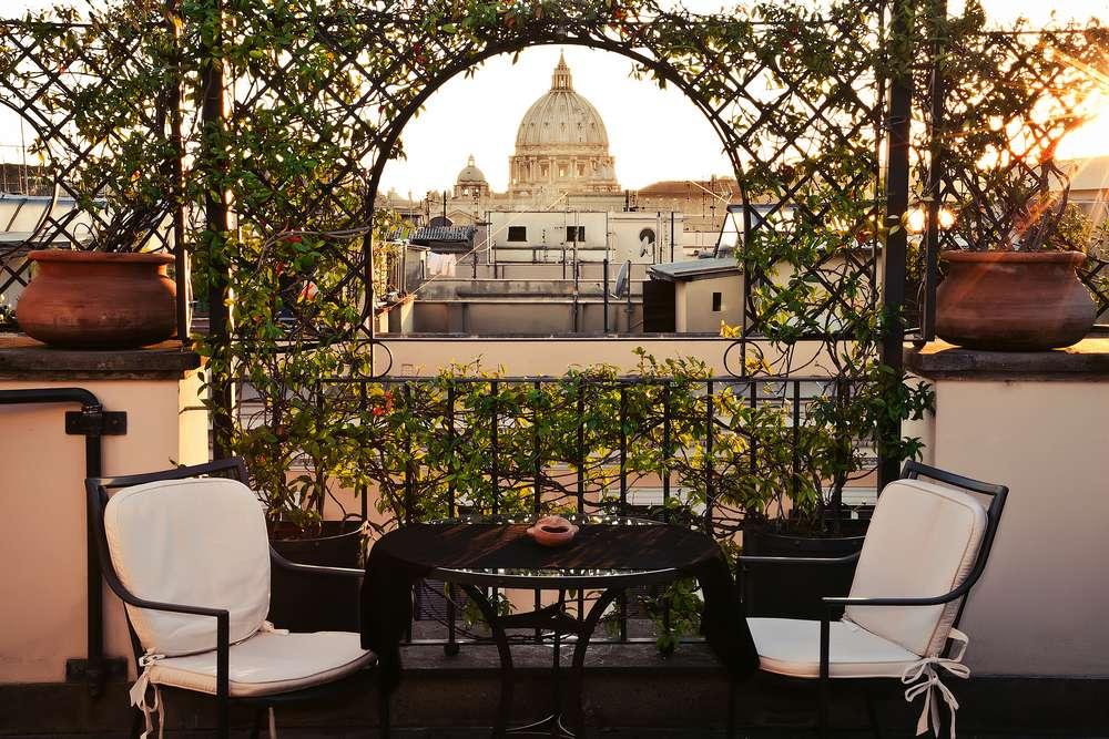 Hôtel Isa Rome, Italie : terrasse avec vue panoramique