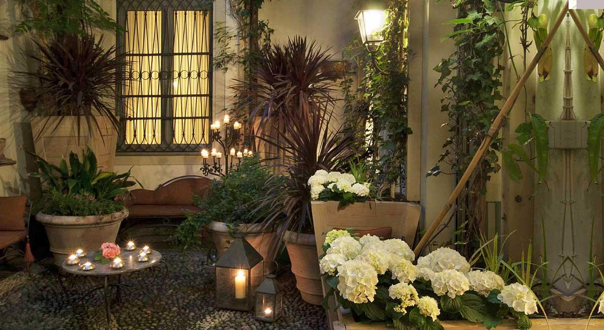 Petit Palais hotel Milan centre : Terrasse arborée
