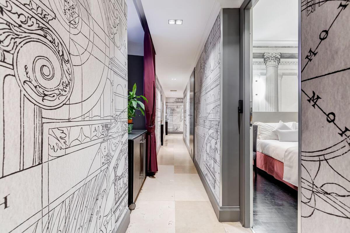 Couloir d'accès aux chambres de la Residenza A (Rome)