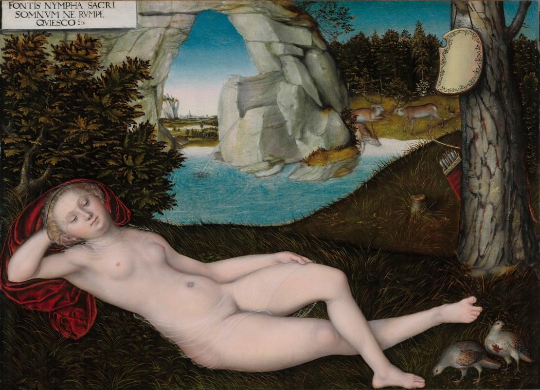 Lucas Cranach de Jongere (1515 – 1586), De Nimf van de lente, olieverf op paneel.