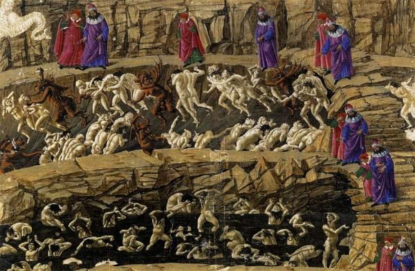 Sandro Botticelli (Firenze 1445-1510), Illustratie uit de Divina Commedia, Hel XVIII, bestraffing van de pooiers, verleiders en vleiers, metalen punt, pen, inkt op perkament, 1480-1495, Kupferstichkabinett, Staatliche Museen Berlin