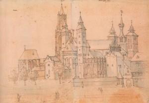 Het Vrijthof met de Sint Janskerk en de Sint-Servaasbasiliek, Remigio Cantagallina, Koninklijke Musea voor Schone Kunsten van België Brussel