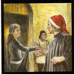 Dante ontmoet zijn Beatrice, voor de Chiesa di santa Margherita dei Cerchi