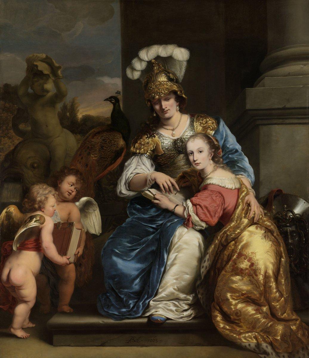 Rijksmuseum-Ferdinand-Bol-Margarita-Trip-die-als-Minerva-haar-zuster-Anna-Maria-Trip-onderwijst-Allegorie-op-het-onderwijs
