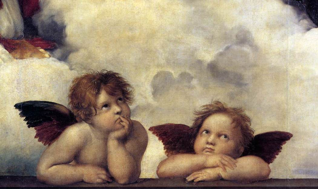 Rafael, Engelen op de Sixtijnse Madonna, 1513-14, Gemäldegalerie, Dresden