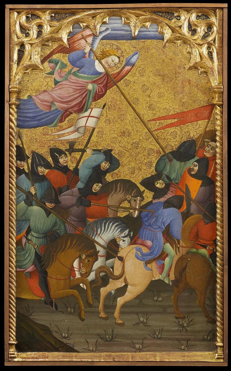 Juan de Sevilla, De Slag bij Siponto, uit het Grajal retabel, Tempera op paneel, 1410-1412, The Matthiesen Gallery-Matthiesen Ltd.