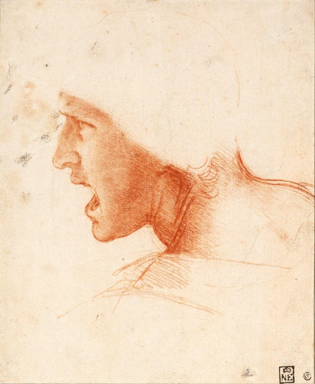 """Afbeelding: Leonardo Da Vinci (1452-1519) Studie van hoofd van een soldaat voor de Slag bij Anghiari. Collectie Szépművészeti Múzeum (""""Museum voor Schone Kunsten""""), Boedapest"""