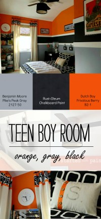 Teen Boy Bedroom in Orange, Gray, Black