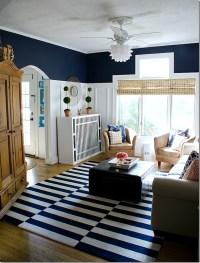 Navy and White Board & Batten Living Room Design