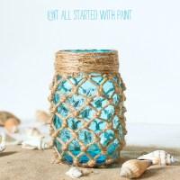 Fishnet Wrapped Mason Jar Craft