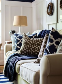 Living Room Decor with Navy Blue
