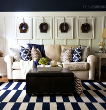 Navy Blue and White Living Room Decor