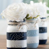 Nautical Striped Mason Jars ... and is Anybody Out There?
