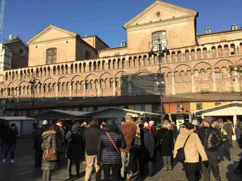 Christmas market on Piazza Trento e Trieste in Ferrara.