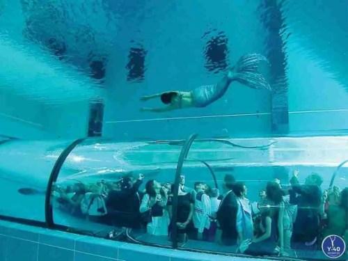 Diver in y-40 pool