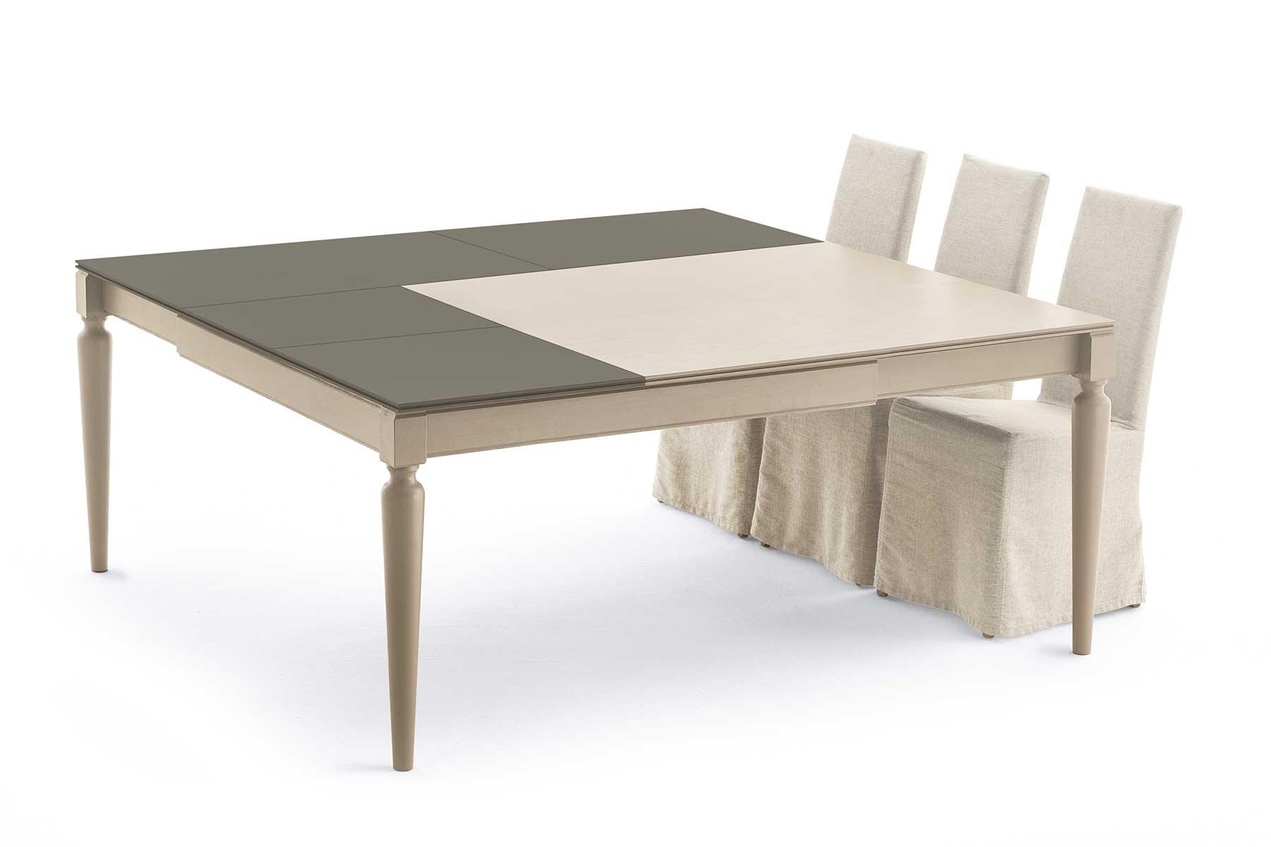 plurimo table carree transformable bicolore