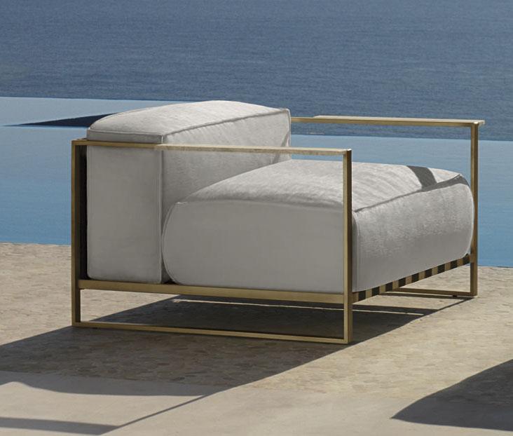 santafe garden armchair in brushed stainless steel