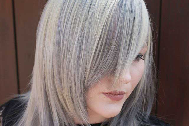 grey steel silver hair