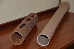 Imagem mostra canos antigos e novos