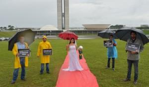 'Noiva' protestou defronte ao Congresso, em Brasília (Wilson Dias-ABr)