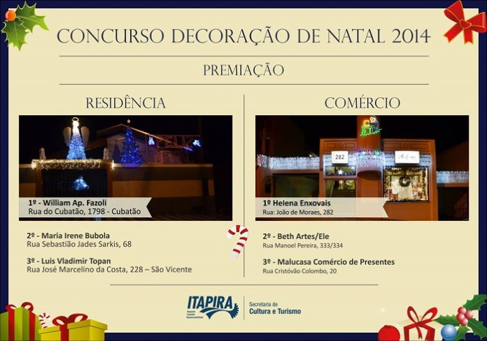 Ganhadores do Concurso de Iluminação Natalina (Reprodução)