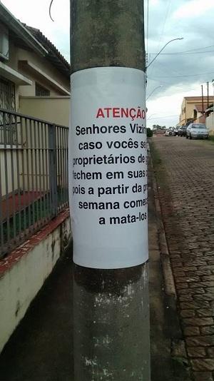 Cartaz ameaçador foi afixado em poste no São Benedito (Reprodução)