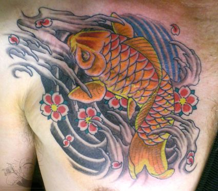 Koi Fish Tattoo Design Chest