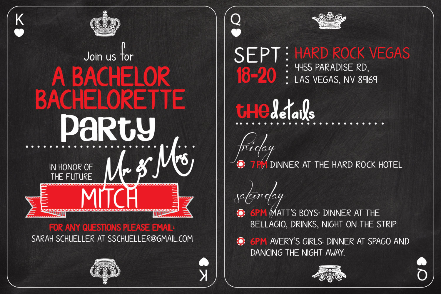 Casino Bachelorette Invitation Wording