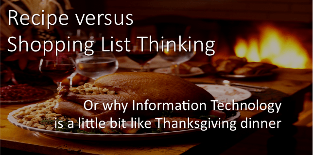 recipe versus shopping list thinking
