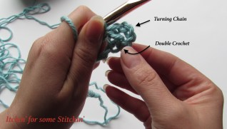 1 Double Crochet and 1 Turning Chain. http://www.itchinforsomestitchin.com
