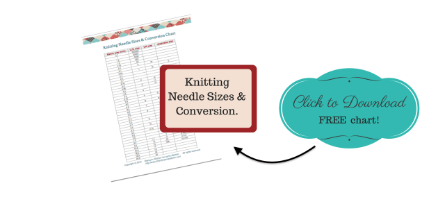 Knitting Needle Sizes & Conversion Chart