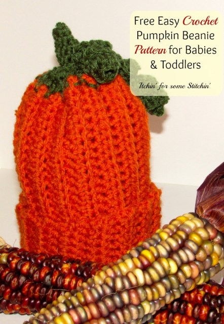 Free Pattern: Easy Crochet Pumpkin Beanie for Babies & Toddlers by Itchin' for some Stitchin'