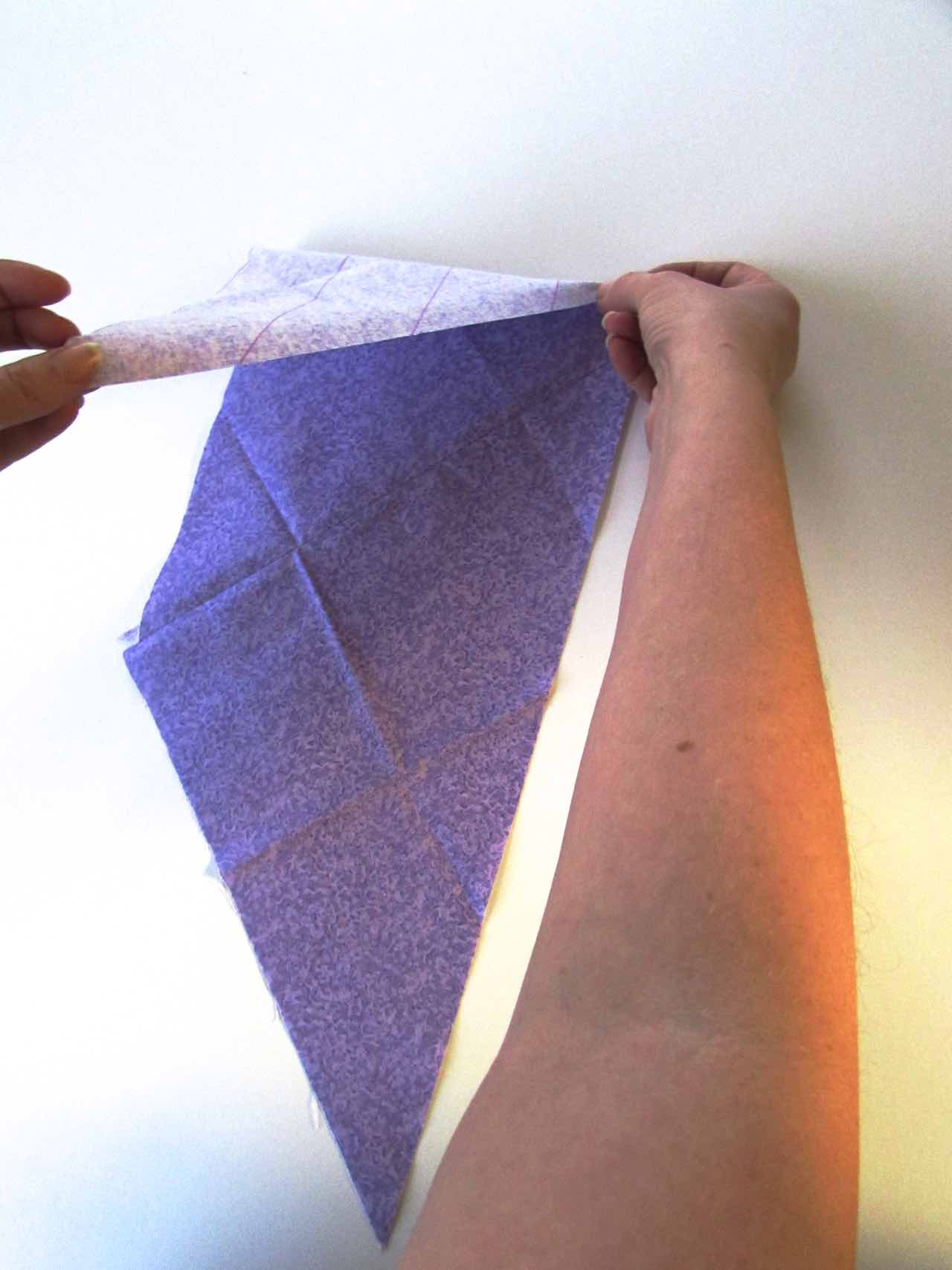 Folding top of parallelogram when making bias tape by www.itchinforsomestitchin.com
