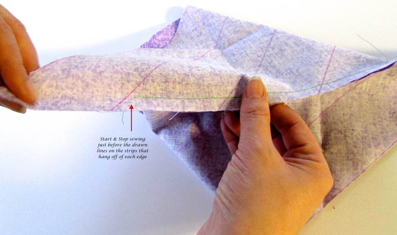 Stitched line ends before drawn line when making bias binding by www.itchinforsomestitchin.com