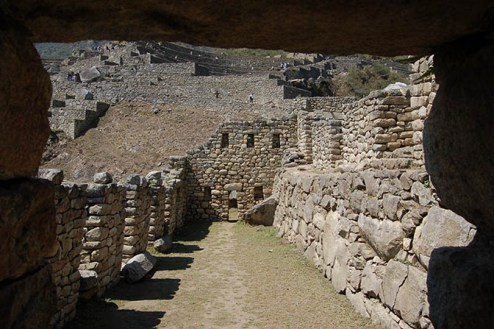 Former room in the ruins of Machu Picchu.
