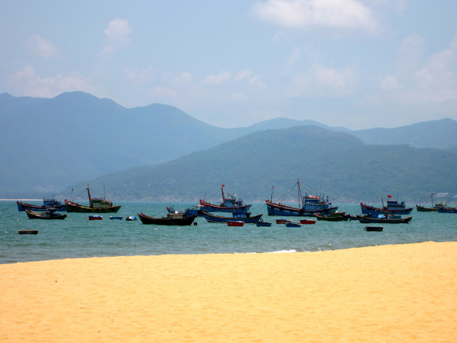Quy Nhon, Vietnam beach with fishing boats