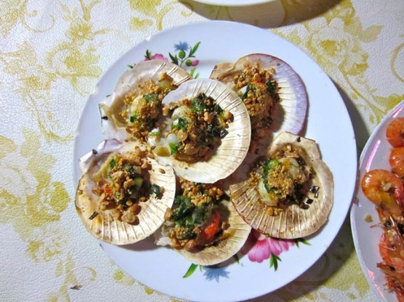 Grilled scallops at Dong Seafood restaurant.
