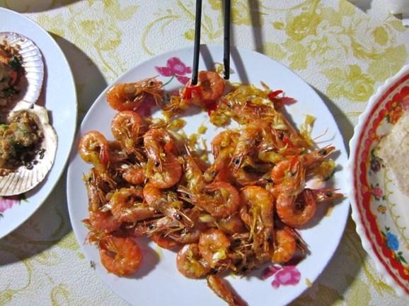Shrimp in garlic at Dong Seafood restaurant.