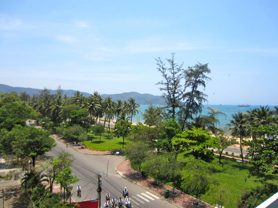 View from our balcony at Y Linh Hotel, Quy Nhon, Vietnam