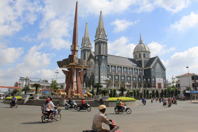 The large roundabout in Thu Dau Mot, Vietnam.