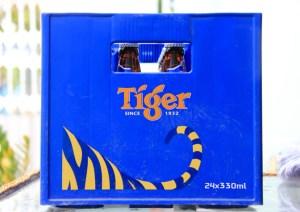 Case of Tiger Beer bottles in Vietnam